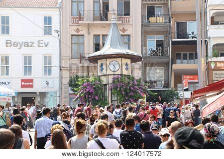 BUYUKADA TURKEY - August 9 2015 : Phaeton in Prince Island Buyukada . Buyukada is the biggest island in Istanbul. Buyukada is the largest of the nine islands consisting the Princes' Islands in the Marmara Sea close to Istanbul. Moving horse cart with coac