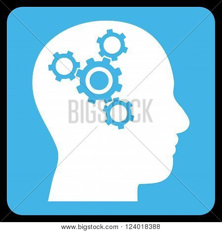 Brain Mechanics vector icon symbol. Image style is bicolor flat brain mechanics icon symbol drawn on a rounded square with blue and white colors.