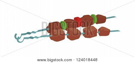 Barbecue kebab on skewers vector illustration. Grilled pork fillet and vegetables isolated on white background, pork barbecue. Barbecue kebab on skewers. Barbecue kebab on skewers cooking gourmet.