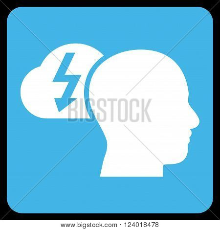 Brainstorming vector pictogram. Image style is bicolor flat brainstorming pictogram symbol drawn on a rounded square with blue and white colors.