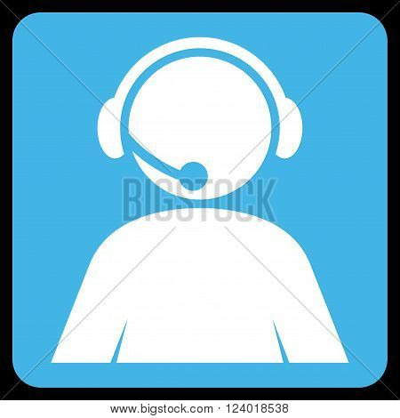 Call Center Operator vector icon. Image style is bicolor flat call center operator pictogram symbol drawn on a rounded square with blue and white colors.