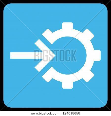Cog Integration vector symbol. Image style is bicolor flat cog integration iconic symbol drawn on a rounded square with blue and white colors.