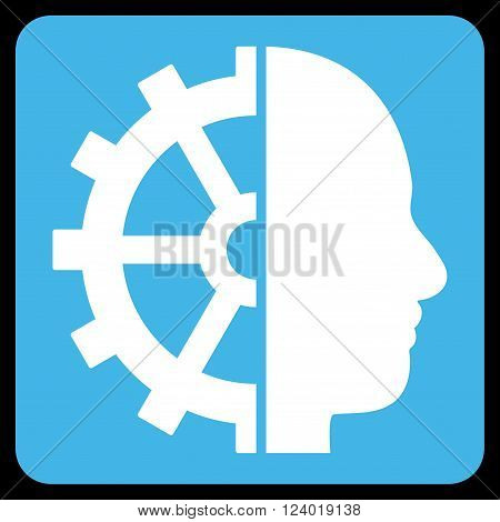 Cyborg Gear vector symbol. Image style is bicolor flat cyborg gear pictogram symbol drawn on a rounded square with blue and white colors.