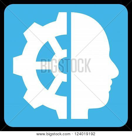 Cyborg Gear vector icon symbol. Image style is bicolor flat cyborg gear pictogram symbol drawn on a rounded square with blue and white colors.