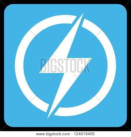 Electricity vector icon symbol. Image style is bicolor flat electricity pictogram symbol drawn on a rounded square with blue and white colors.