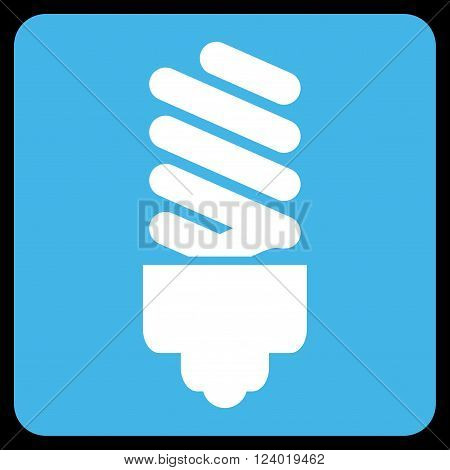 Fluorescent Bulb vector icon symbol. Image style is bicolor flat fluorescent bulb icon symbol drawn on a rounded square with blue and white colors.