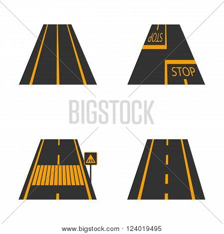 Icons of the road with yellow markings and road signs third part vector illustration.