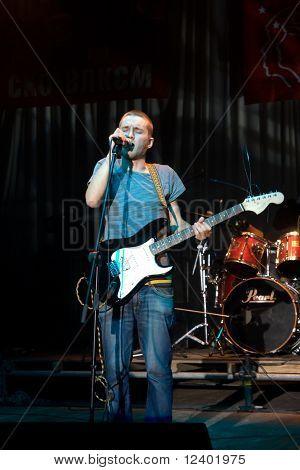 "VINNITSYA,   - September 19.2008 Singer frontman  Serge Asafatov  from ""Martovy""  rock group  performs on the stage at   Rock Days festival,    Vinnitsya,Ukraine, 18-19.09.2008"
