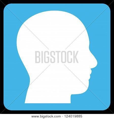 Head Profile vector icon. Image style is bicolor flat head profile pictogram symbol drawn on a rounded square with blue and white colors.