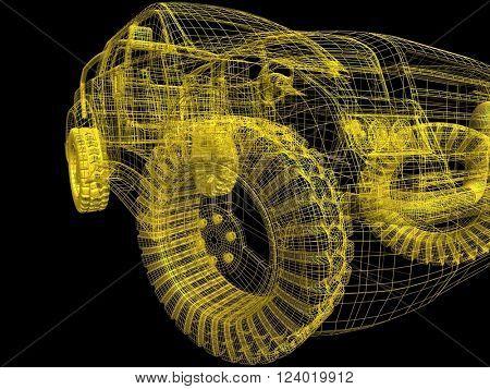 3D illustration model cars