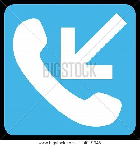 Incoming Call vector symbol. Image style is bicolor flat incoming call icon symbol drawn on a rounded square with blue and white colors.
