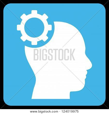 Intellect Gear vector pictogram. Image style is bicolor flat intellect gear icon symbol drawn on a rounded square with blue and white colors.