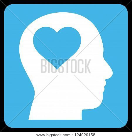 Lover Head vector icon symbol. Image style is bicolor flat lover head pictogram symbol drawn on a rounded square with blue and white colors.