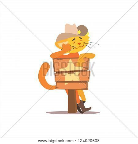 Puss In Boots With Star Sign Funny Childish Colorful Flat Vector Illustration On White Background