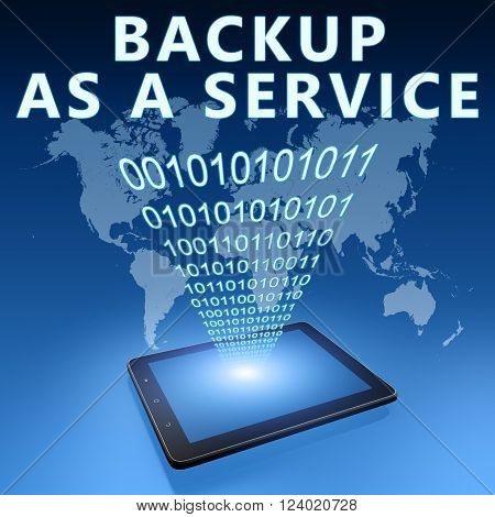 Backup as a Service illustration with tablet computer on blue background.3D rendering,