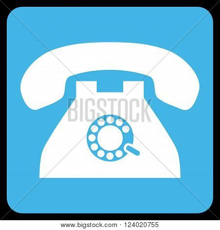 Pulse Phone vector icon symbol. Image style is bicolor flat pulse phone iconic symbol drawn on a rounded square with blue and white colors.