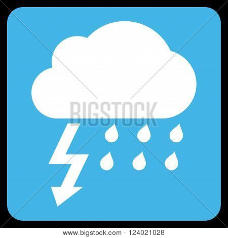 Thunderstorm vector symbol. Image style is bicolor flat thunderstorm iconic symbol drawn on a rounded square with blue and white colors.