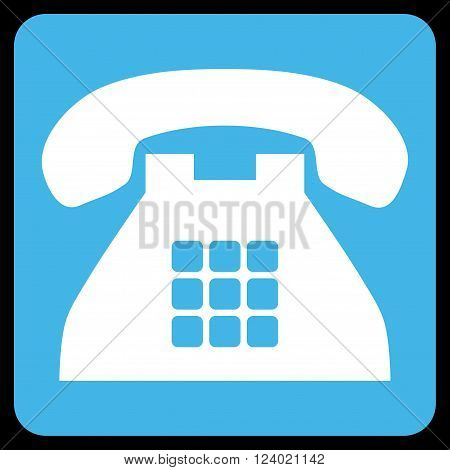 Tone Phone vector pictogram. Image style is bicolor flat tone phone icon symbol drawn on a rounded square with blue and white colors.