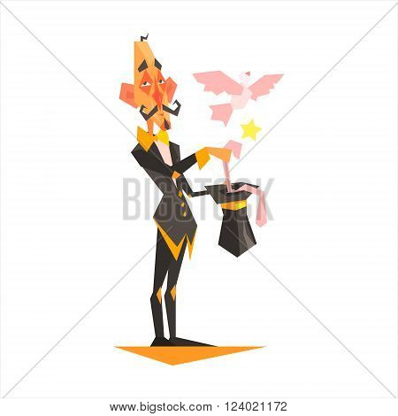 Circus Magician Performing Graphic Flat Vector Design Isolated Illustration On White Background