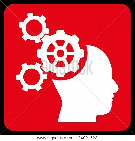 Brain Mechanics vector symbol. Image style is bicolor flat brain mechanics pictogram symbol drawn on a rounded square with red and white colors.