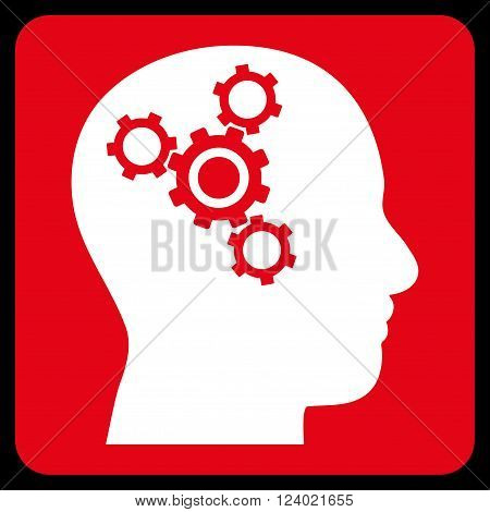 Brain Mechanics vector icon. Image style is bicolor flat brain mechanics icon symbol drawn on a rounded square with red and white colors.