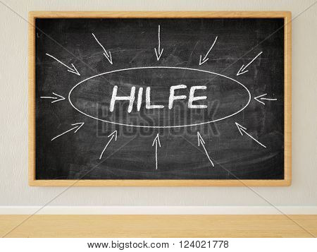 Hilfe - german word for help - 3d render illustration of text on black chalkboard in a room.
