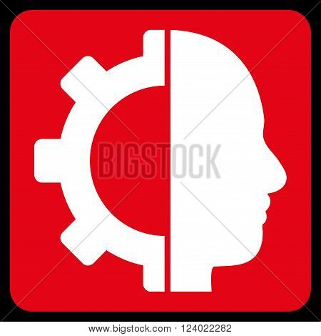 Cyborg Gear vector icon symbol. Image style is bicolor flat cyborg gear pictogram symbol drawn on a rounded square with red and white colors.