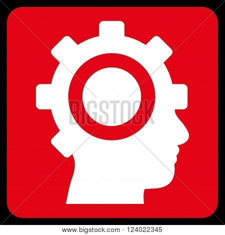 Cyborg Gear vector icon. Image style is bicolor flat cyborg gear pictogram symbol drawn on a rounded square with red and white colors.