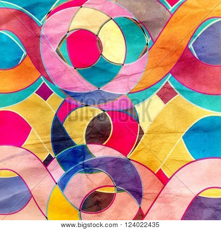 Abstract watercolor retro bright wavy background with different elements