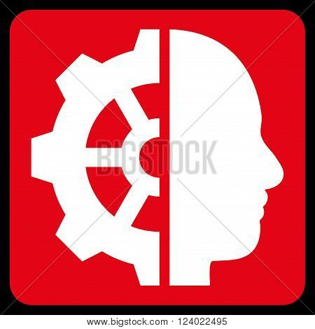 Cyborg Gear vector pictogram. Image style is bicolor flat cyborg gear iconic symbol drawn on a rounded square with red and white colors.