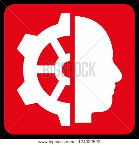 Cyborg Gear vector icon symbol. Image style is bicolor flat cyborg gear iconic symbol drawn on a rounded square with red and white colors.