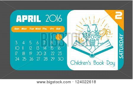 Calendar for each day on April 2. Holiday - Books for Young ( Children's Book Day). Icon in the flat style