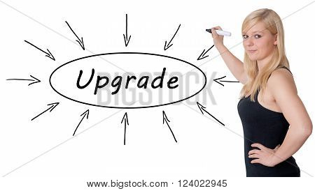 Upgrade - young businesswoman drawing information concept on whiteboard.