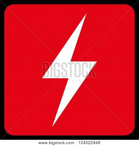 Electricity vector icon. Image style is bicolor flat electricity iconic symbol drawn on a rounded square with red and white colors.