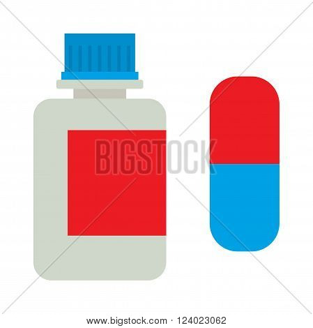 Medicine bottle vitamins jar illustration on white background. White plastic bottle vitamins jar, cardboard packaging isolated. Medicine and vitamins jar . Vitamins jar.