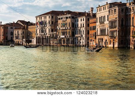 VENEZIA, ITALY - MAY 2015:  Grand Canal in Venice with Gondole and Facades Italy