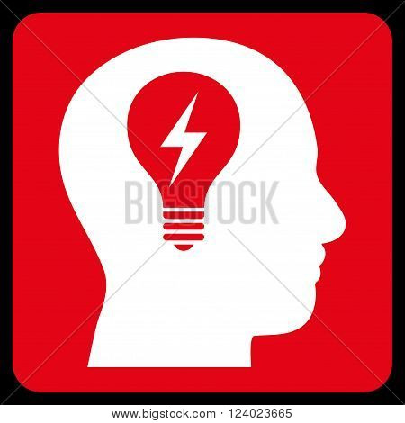 Head Bulb vector icon symbol. Image style is bicolor flat head bulb iconic symbol drawn on a rounded square with red and white colors.