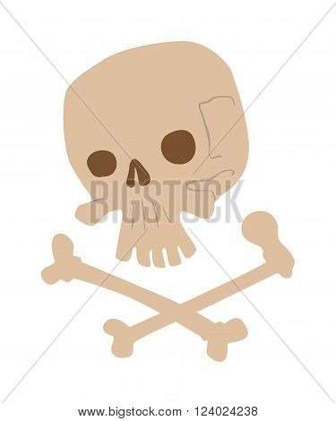 Skull bones illustration isolated on white background. Skull and crossbones - a mark of the danger warning. Skull bones halloween design. Skull bones pirate symbol.