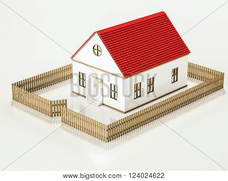 Small house with wooden fence, 3d rendered