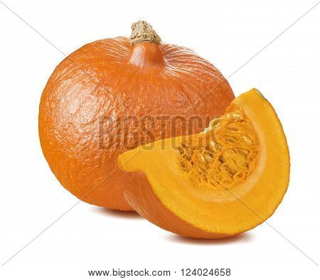 Pumpkin whole segment piece 2 isolated on white background as package design element