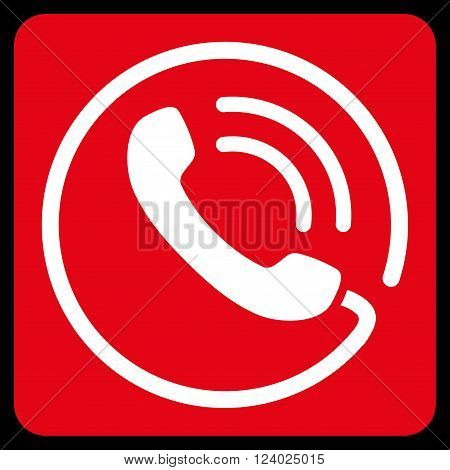 Phone Call vector symbol. Image style is bicolor flat phone call icon symbol drawn on a rounded square with red and white colors.