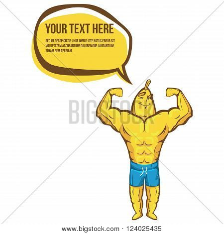 Fitness banana shows biceps. Sport illustration and logo