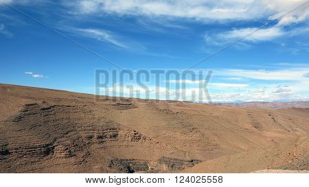 view of desert in morroco with blue sky