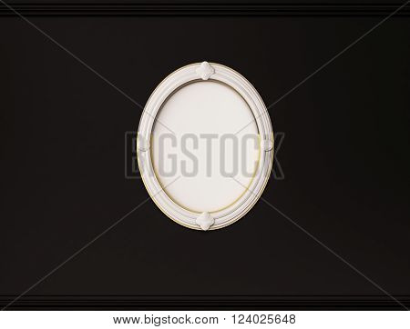 White oval picture frame on black wall with cornice, 3d rendered