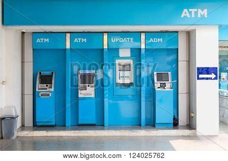 Nakhonratchasima THAILAND March 13 2016 : Station of ATM machine and deposit machine.