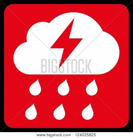 Thunderstorm vector symbol. Image style is bicolor flat thunderstorm pictogram symbol drawn on a rounded square with red and white colors.