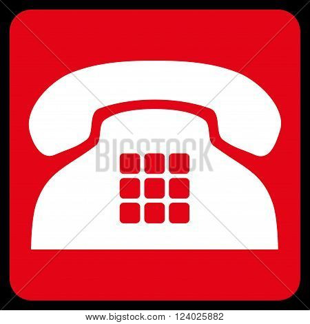 Tone Phone vector pictogram. Image style is bicolor flat tone phone pictogram symbol drawn on a rounded square with red and white colors.