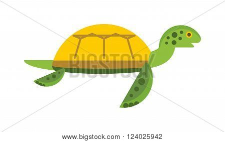 Vector illustration of a cute cartoon turtle. Happy sea turtle cartoon. Cartoon Turtle character animal. Cartoon Turtle reptile vector. Cartoon Turtle wildlife. Ocean animals