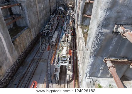 Tunnel Boring Machines At Construction Site Of Metro