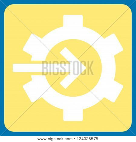 Cog Integration vector pictogram. Image style is bicolor flat cog integration pictogram symbol drawn on a rounded square with yellow and white colors.